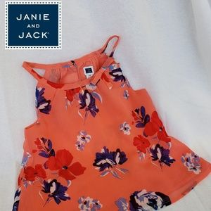 Janie and Jack Girl's Coral Floral Chiffon Top 2T
